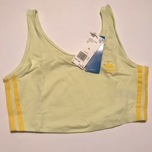 Adidas Yellow Cropped Tank Top